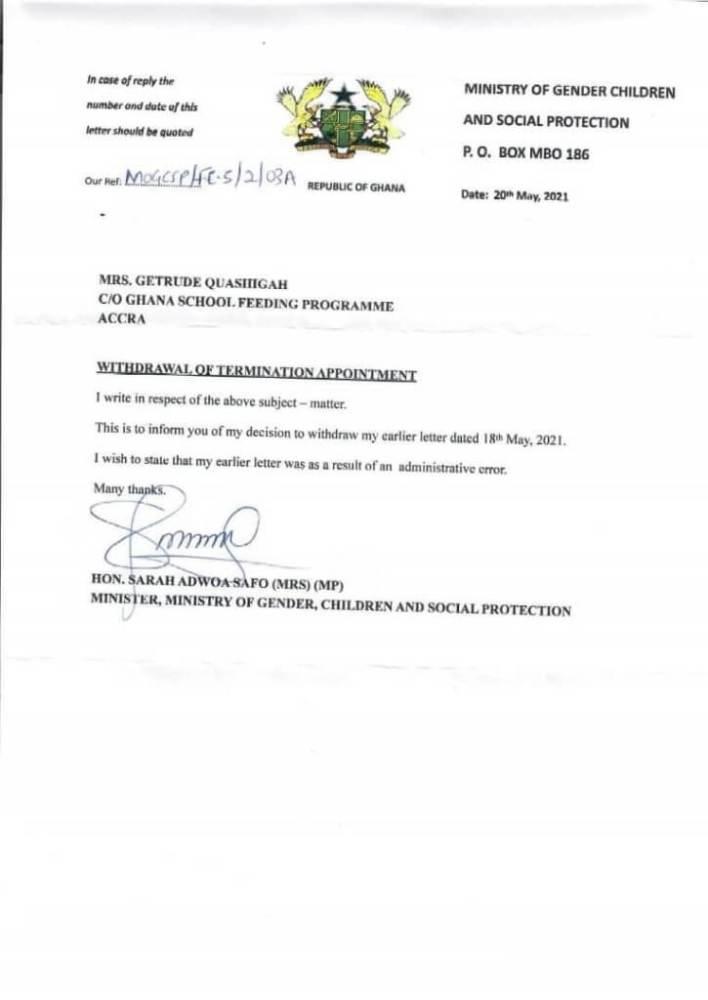 Battle of NPP godfathers as Adwoa Safo complies with order to reinstate School Feeding boss 'immediately'