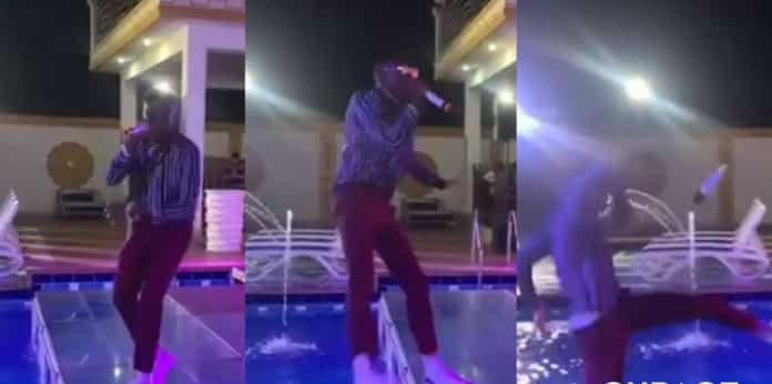 Video: Musician Khaypro nearly drowns after falling into pool during performance