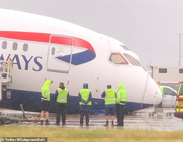 Photos: British Airways plane collapses on the tarmac at Heathrow Airport
