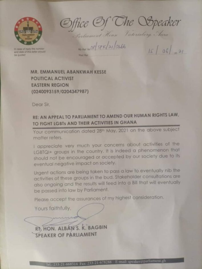 """""""LGBTQ will not be allowed in Ghana, law in earnest to stop all activities"""" – Speaker Alban Bagbin"""