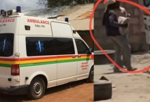 National Ambulance Engaged In Transporting Cement (video)