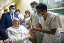 Pope Francis leaves hospital in Rome 10 days after intestinal surgery