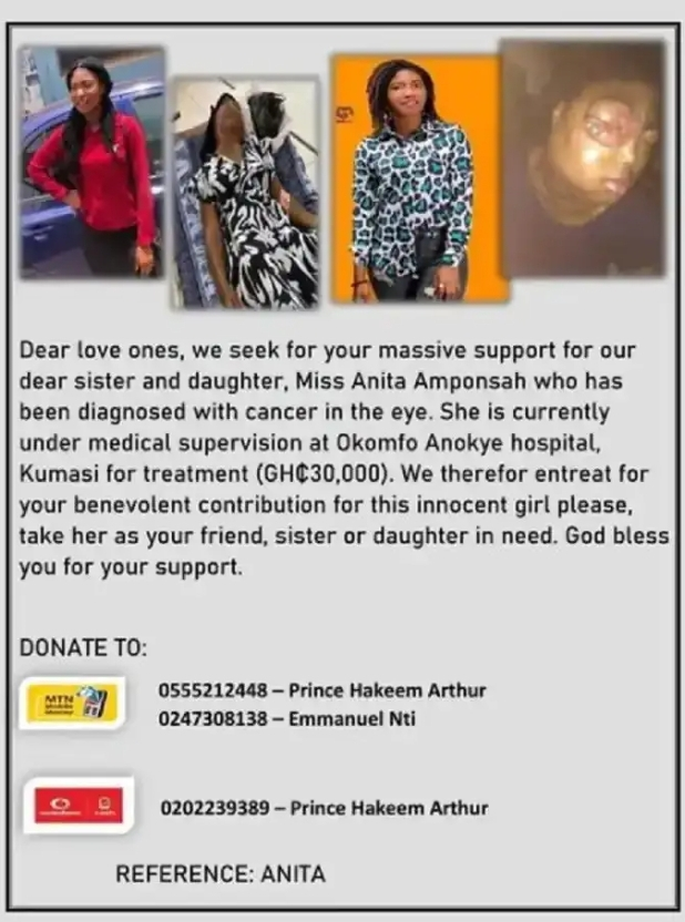 22-year-old SHS graduate unable to eat due to cancer; needs GHc 30k for surgery