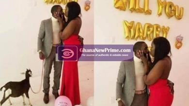 Mix reactions as man proposes to his girlfriend with a goat