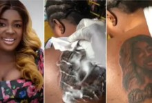 Die-hard fan surprises Tracey Boakye with tattoo of Tracey Boakye's face at her back [Video]