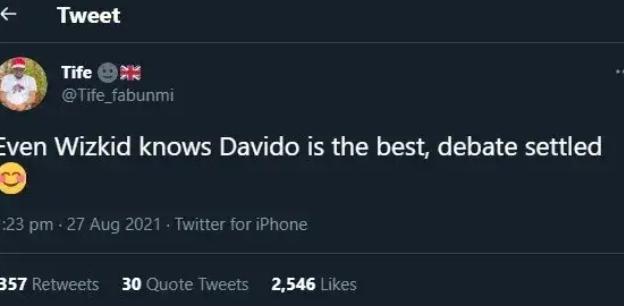 "Fan reacts to Wizkid's tweet, saying ""Even Wizkid knows Davido is the best"""