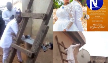 Photo of Groom leaves bride waiting in church to fix a clients' Dstv dish on their wedding day in Cape Coast