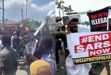 Photo of Video: Nigerians living in Ghana hail Ghana Police as they protest against SARS (Watch)