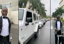 Photo of Kwasi Dadzie challenges #Kency 2020 as he shows off a fleet of cars at his wedding (VIDEO)