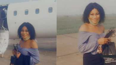 Photo of Slay Queen jubilates as she enters an airplane for the first time