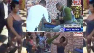 Photo of Bishop Obinim removes 'spiritual bullet' from the head of a lady (Watch Video)