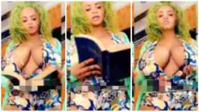 Photo of Slay queen sets confusion among men as she dresses 'naket' while preaching the word of God in a live video— watch