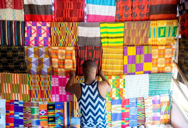 Colourful Kente on display in Bonwire. Image / ghana.for91days.com