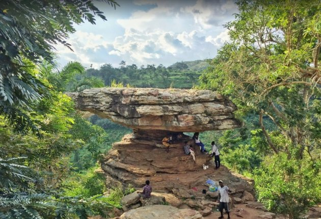 Umbrella Rock, located at the site of the Boti Falls in Yilo Krobo District.