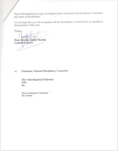 Koko Anyidoho suspension letter 1