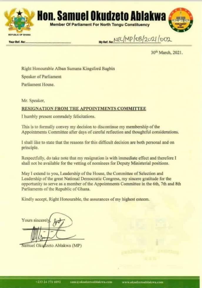 Ablakwa's letter