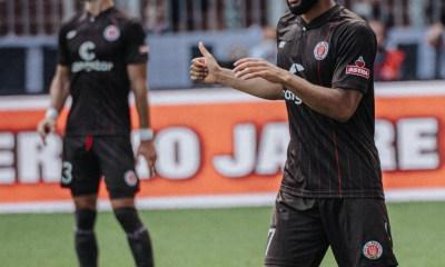 Off the mark: Ghanaian forward Daniel Kofi-Kyereh scores for FC St. Pauli on opening weekend of Bundesliga 2