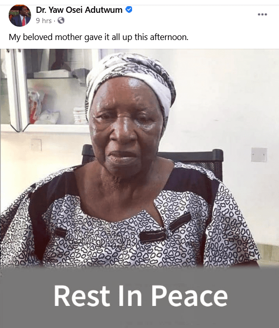 Dr Yaw Osei Adutwum's mother