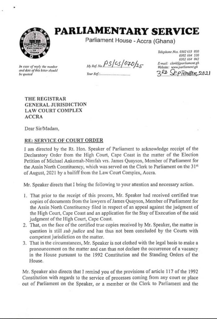 Speaker's letter, Assin North