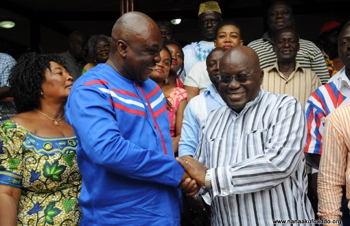 Akufo-Addo meets Carlos Ahenkorah during a recent visit to Tema West.