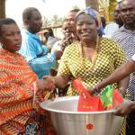 Nana Oye Lithur,  donates to women in Volta Region