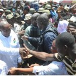 Mahama mobbed at Kaneshie Market Complex