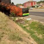 WATCH: Cape-Coast bound Metro Mass bus burst into flames at Kasoa