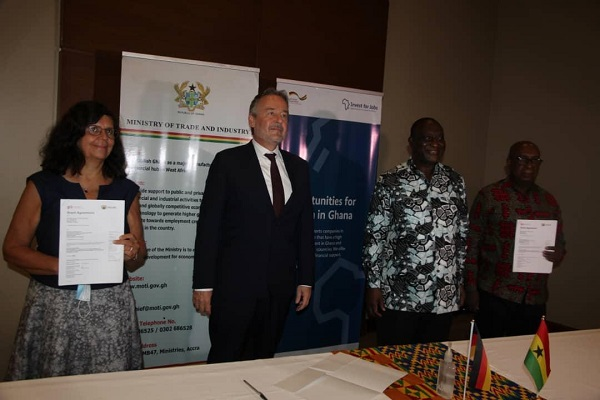 Ms Regina Bauerochse Barbosa, the Country Director of GIZ Ghana (left), Mr Christoph Retzlaff, the German Ambassador to Ghana (2nd left), Mr Alan Kyerematen, Minister of Trade and Industry and Mr Patrick Yaw Nimo, the Chief Director, Ministry of Trade and Industry