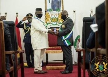 President Nana Addo Dankwa Akufo-Addo (right) with President Julius Maada Bio