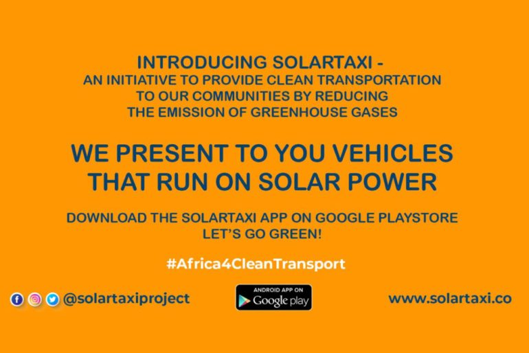 Kumasi Hive and Mastercard Foundation SolarTaxi banner on gharage