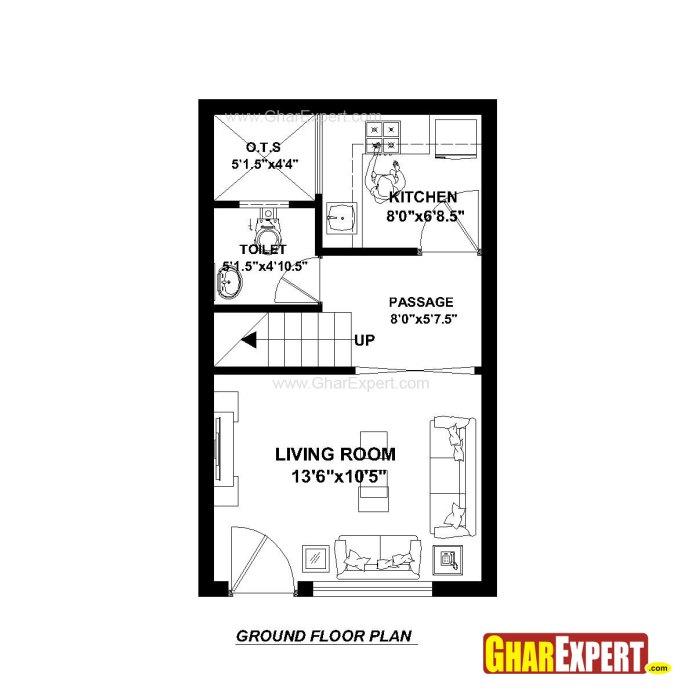 House Plan For 15 Feet By 25 Feet Plot Plot Size 42 Square Yards Gharexpert Com
