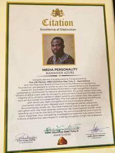 Citation for Manasseh Azure