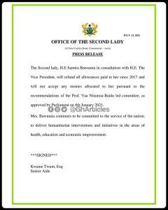Samira Bawumia rejects allowances