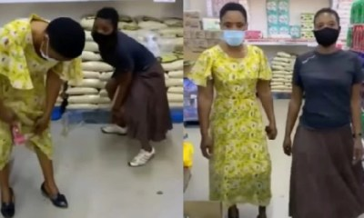 Two Female Students Caught On CCTV Camera Stealing Provisions In A Shop [Video]