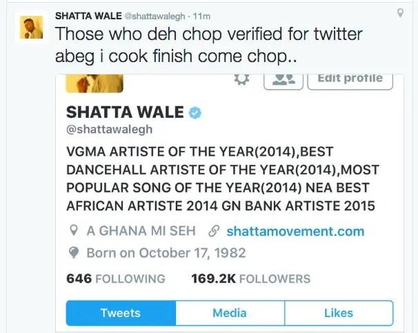 Shatta Wale gets verified on Twitter