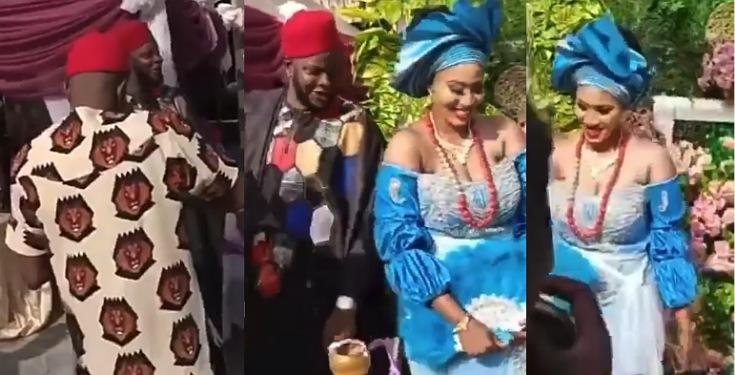 Man Seen Spraying Onions On A Couple During Traditional Wedding Video