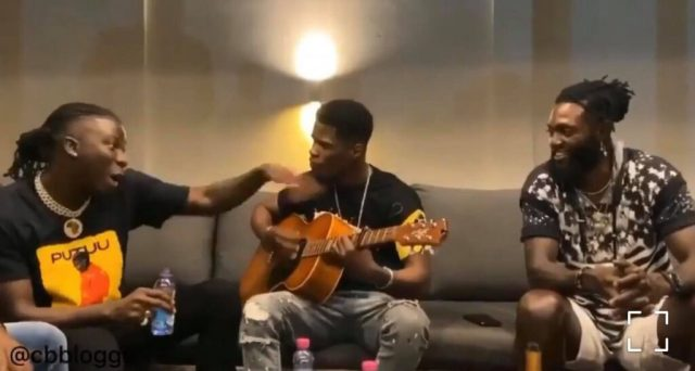 Stonebwoy blows Emmanuel Adebayor's mind with a freestyle in his Mansion in Togo