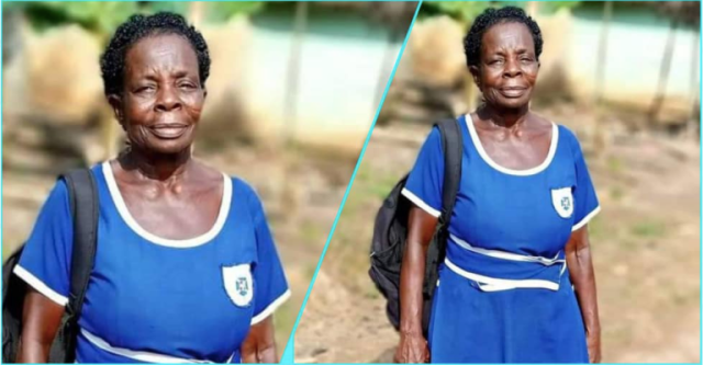 Photo: Meet the 60-year-old JHS woman writing BECE