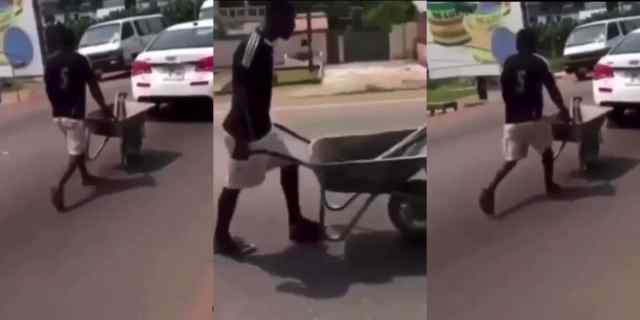 A man joining traffic with his wheelbarrow causes stir online