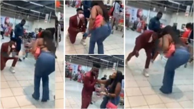 It Ended In Tears As A Lady Slapped Her Boyfriend In Public After He Propose To Her (Watch Video)