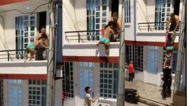 Cheating husband helps sidechic jump down from storey building when wife came knocking on the door (Watch Video)