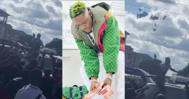 Okese1 Also Seen Spraying Bundles Of Money On His Fans In Town (Watch Video)