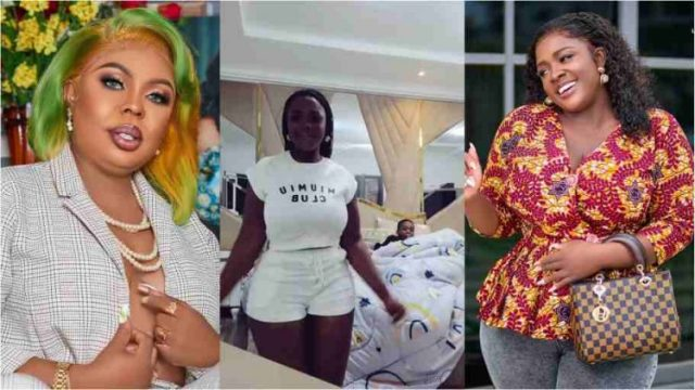 Akua GMB shows off her expensive bedroom after Tracey Boakye & Afia Schwar, called her poor (Watch Video)