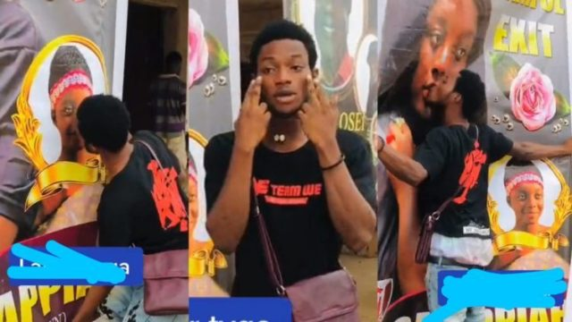 """""""She never accepted my proposal for three years when she was alive"""" – Young man says as he kisses The Poster of lady who passed on (Watch Video)"""