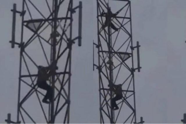 Nigerian Man Climbs Mast, Threatens To Commit Suicide If A Wife Isn't Provided For Him