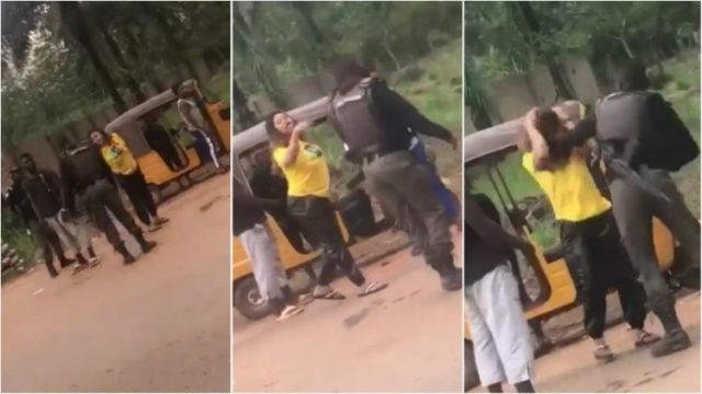 Police officer caught on camera beating young lady at checkpoint in Enugu (+Video)