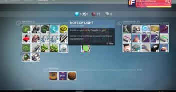HOw to use Mote of Light to upgrade gear in Destiny