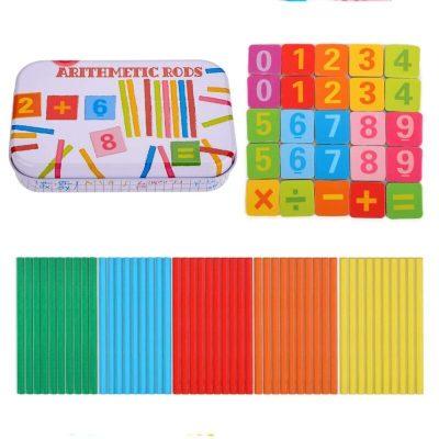 Joc de aritmetică cu operații matematice și bețișoare din lemn