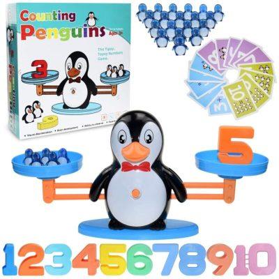 Jucărie balanță pinguin cu numere și cartonașe