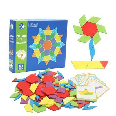Joc tangram cu 130 piese din lemn